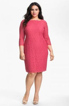 Plus size cocktail dresses with sleeves - Adrianna Papell Lace Overlay