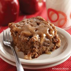 Gooseberry Patch Recipes: Caramel-Glazed Apple Cake. Super moist poke cake with gooey caramel glaze!