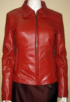 Red Leather jacket casual wear classic style 613  $229.99 image