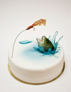 fish cake, 3d fish, cake decorations, father's day fishing cupcake, retirement parties