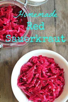 Homemade Red Sauerkraut- easy instructions on how to ferment vegetables.