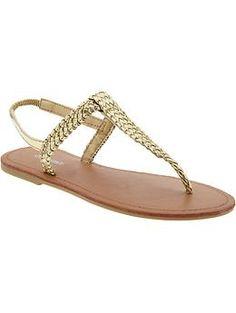 Girls Braided-Metallic Sandals