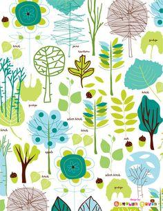 graphic, carolyn gavin, color, tree designs, tree leav, leaves, fabric, art carolyn, leav patternobsess