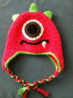 One eye monster crochet hat w/earflaps Girls by LamimiBoutique.