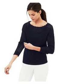 Loft Scalloped Neck Cotton Sweater: Pair this not-too-heavy, not-too-light scalloped sweater with slouchy boyfriend jeans and ballet flats.