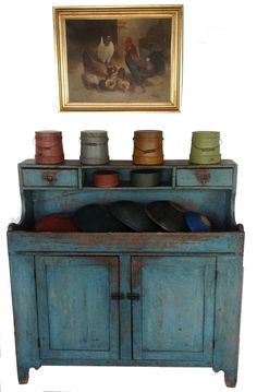 Z431 Beautiful mid 19th century Lehigh Valley Pennsylvania High Back Drysink, with outstanding robin egg blue paint