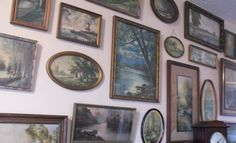 Wall of vintage landscapes