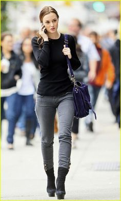 leighton meester style, fashion, cloth, celeb, gossip girl, jeans, street styles, casual outfits, black