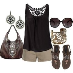 Summer casual in black & tan. | Cute style Women Fashion Style, Clothes Outift for • teens • movies • girls • women •. summer • fall • spring • winter • outfit ideas • 90s • 2014