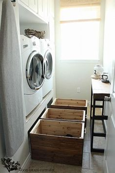 DIY Laundry Room Crates... I like the idea of laundry baskets under the washer and dryer... Would be great for our small laundry room