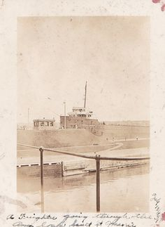 Freighter going through lock in Sault St by EverydayVintageLife