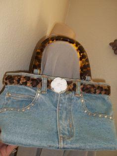 Purse Leopard print denim Handbag Handbag by SuzyQsVintageShop, $15.75