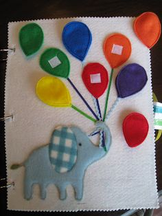Elephant and balloons color matching quiet book page! elephants, craft, quietbook, colors, quiet books, book pages, babi, balloons, kid