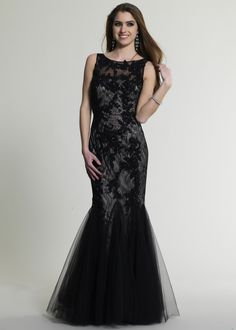 Dave & Johnny 286 Black Beaded Lace Mermaid Prom Dresses Online