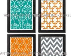 Teal and gray Wall Art | Orange Green Teal Grey Wall Art Vin tage / Modern Inspired -Set of (4 ...