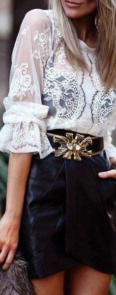 lace ruffles and leather ♥✤ | KeepSmiling | BeStayClassy lace tops, fashion clothes, fashion styles, leather skirts, blous, outfit, street styles, black white, white lace