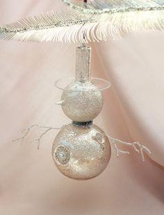 Snowman Ornament #antique #glass #mercury #Christmas