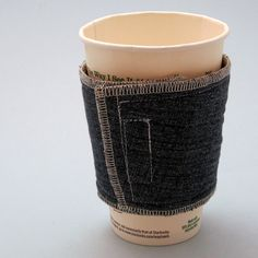 DIY Upcycle Sew Denim Coffee Cup Cozy