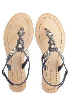 Akan Navy Rhinestone Thong Sandal | Calypso St. Barth-$225