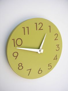 chartreuse, telling time, numbers, colors, modern number, poppy red, green kitchen, wall clocks, number clock