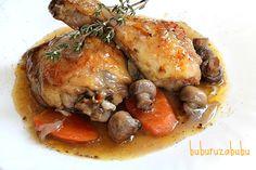 Chicken in red wine sauce