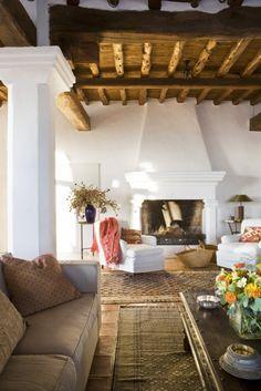 living rooms, exposed beams, rustic spain, white walls, wood ceilings, spanish style, hacienda style, live room, wood beams