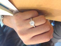 <3 cushion cut engagement ring cut solitair, idea, dreams, diamonds, engagements, simple weddings, cushions, cushion cut engagement rings, engag ring