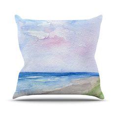 Rosie Brown Wet Sand Beach View Outdoor Throw by KessInHouse, $30.00   #art #homedecor #pillow #throwpillow #kessinhouse #etsy kessinhous, throw pillow, throwpillow