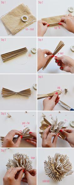 DIY striped pompoms