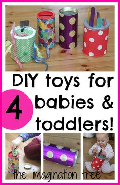 "DIY Baby andToddler toys to promote motor skills from theimaginationtre... ""Use recycled materials to create 4 homemade toys for babies and toddlers! They are simple to make, cost very little to put together and are great for promoting fine and gross motor skills, concentration, curiosity and cause and effect, amongst other benefits."""