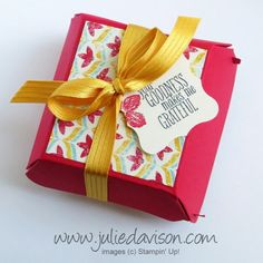 Julie's Stamping Spot -- Stampin' Up! Project Ideas Posted Daily: Video: Hamburger Box Die