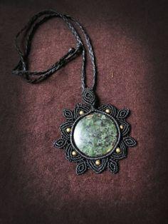 Macrame mandala steampunk necklace