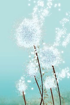 Dandelion Art - Perennial Moment (aqua) - 24x36 LARGE Print - Blue Floral Art. $125.00, via Etsy.