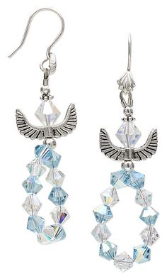 """Earrings with Swarovski Crystal Beads and Antiqued Silver-Finished """"Pewter"""" Beads"""