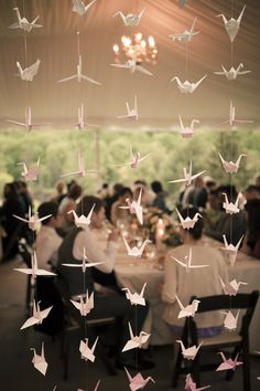 Origami Paper Cranes for Happiness and Prosperity   Wedding Decor   Click thru to see the wedding on SMP