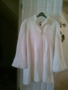 Beautiful winter white hooded sheared faux fur coat for sale . 3/4 length size large will fit cuddly priced to sell fast $100 does not include shipping .(click photo to go to seller's pinterest for more info!)