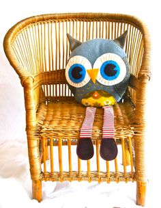 Owl pillow decorative fleece plush Oliver Owl.