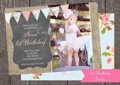 Printable Invitation1st BirthdayVintage GirlFirst by CasburyLane, $15.00