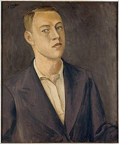Self-Portrait (1936) by French artist Jean Dubuffet (1901-1985). Oil on canvas, 25.75 x 21.5 in. via the Met, NYC
