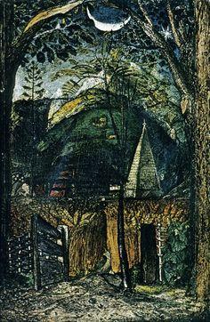 Samuel Palmer. Hilly Scene with Church and Moon, Shoreham. c.1826