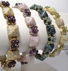 INTERMEDIATE - Pyramid Beadstud Band Bracelet by Deborah from Around the Beading Table - allfreejewelrymaking.com