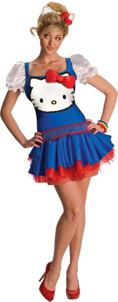 Adult Blue Classic Hello Kitty Costume - Party City CLEARANCE $31.00