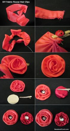 Flor - Clip para cabello Fabric Roses, Hair Flowers, Diy Hair, Fabric Flowers, Flower Clips, Hair Bows, Hair Accessories, Craft Ideas, Hair Clip