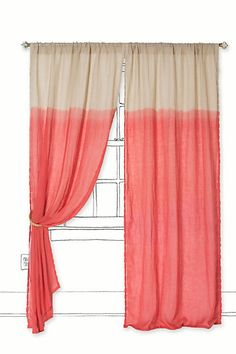 coral curtain #anthropologie color curtain, curtains, quarter color, coral curtain, colors, anthropologie, window treatments, dip dyed, bedroom