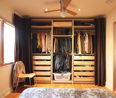 "If you have folding doors or sliding doors take them off and use curtains like this or the roll up variety.  It will save you time and energy! IKEA Pax wardrobe with curtains - a ""walk-in closet."" Via Chezerbey"
