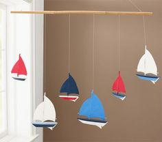 Regatta Mobile | Pottery Barn Kids I would use something other than sailboats but cute!!