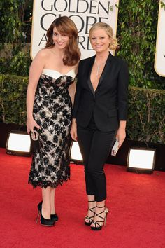 Tina Fey and Amy Poehler on the Golden Globes Red Carpet 2013.