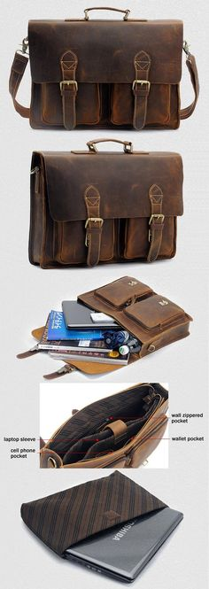 "Vintage Handmade Crazy Horse Leather Briefcase / Messenger Bag -- with a 14"" 15"" Laptop / 13"" 15"" MacBook Sleeve"