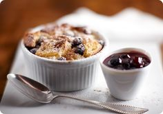 Blueberry Bread Pudding with Spiced Blueberry Sauce
