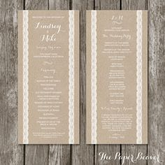 Wedding Program Template (Printabe) - Rustic Kraft Lace Wedding ...
